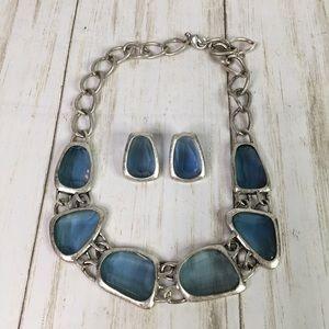 Avon Antique Silver-tone Necklace Blue + Earrings